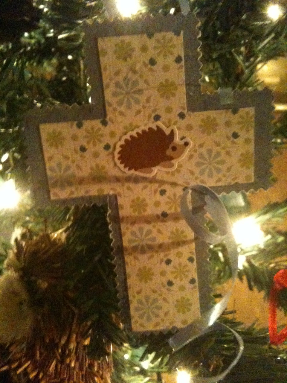 """A reminder of the priority of Christmas on Sawyer's """"woodland"""" tree."""